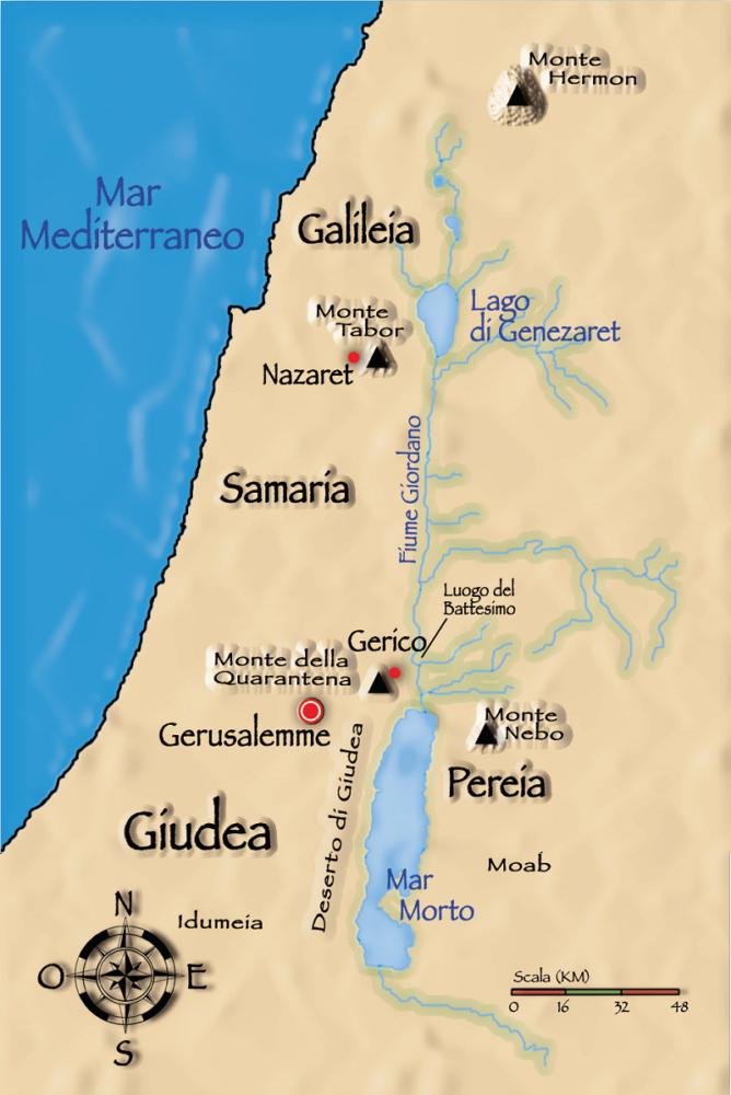 Sul Monte della Quarantena Djebel Qarantal – Gesù fu tentato per quaranta giorni.